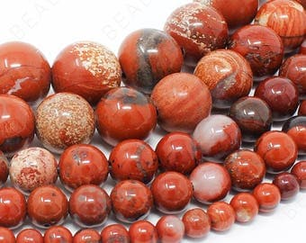 "Red Jasper Beads Natural Gemstone Round Loose - 4mm 6mm 8mm 10mm 12mm - 15.5"" Strand"