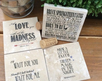 Bruce Springsteen lyrics on travertine marble coasters, The Boss, Born to Run, Wait, love and madness, Set of 4, songs, art, also in prints