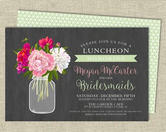 Bridal Luncheon Invitation Digital Download | Floral Mason