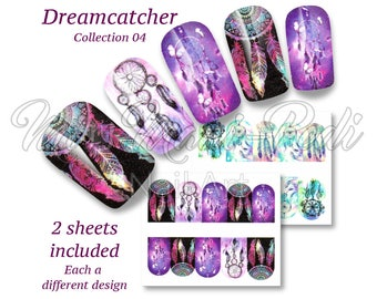 Dreamcatchers Nail Art, Boho Summer Nail Wraps, Water Nail Decals, Dreamcatcher Nails, Festival Nails Stickers, Feathers Water Decals BN310