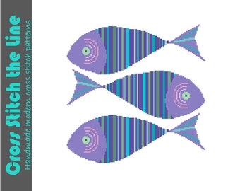 Cheerful school of brightly striped fish. Contemporary modern cross stitch pattern of three fish.