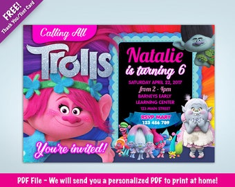 Personalized Trolls Birthday Party Invitation  | Poppy  | Branch | Bridget | DIGITAL DOWNLOAD - PDF File