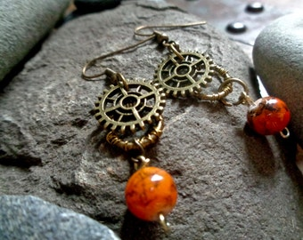 Steampunk Earrings - Orange Czech Glass Beads, Bronze, Hypoallergenic