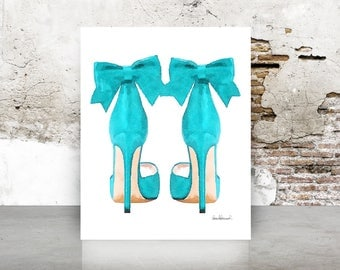 Teal fashion watercolor shoes, high heels, fashion illustration, shoe art, shoe art, high heels, fashion print, fashion art, gift, bow, blue