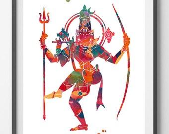 Shiva Watercolor Print god lord Shiva poster Spiritual art yoga mantra wall decor Shiva Mahesha hindu trimurti indian god Maha Shivaratri