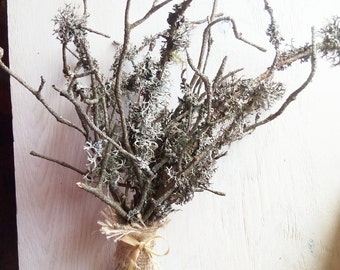 Mossy branches arrangement, rustic decor