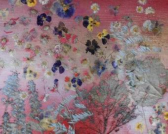 Pressed flowers art, pressed flower collage on wooden panel, wall decor, botanical art, OOAK