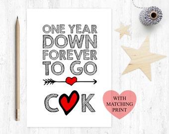 1st wedding anniversary card, anniversary gift, one year down, personalised wedding anniversary, wedding anniversary print, forever to go