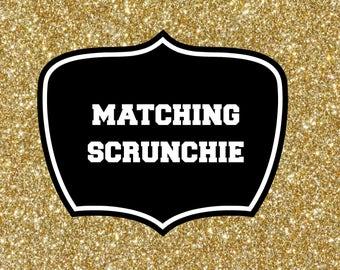 Matching hair scrunchie, for your gymnastics leotard, athlechik, canada, gymnastics wear, coordinate