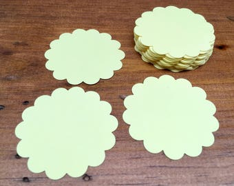 Yellow Scallop Circles - Scallop Circle Die Cuts - Circle Tags - Baby Shower Tags - Card Stock Die Cuts - 24 Count