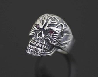 Sterling Silver Men Skull Ring, Sterling Silver Hell Rider Skull Ring, Biker Skull Ring, Black Oxidized Skull Skeleton Ring, Mens Death Ring