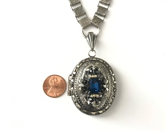 Large Antique Silver Tone Locket on Elaborate Floral Bookchain