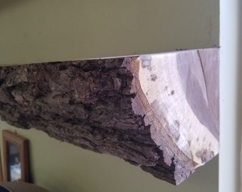 Walnut Mantle shelf w/ bark