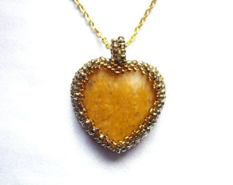 Heart necklace Gift for women Yellow heart Jasper necklace Heart pendant Gift for her Yellow jewelry Gifts for sister Best friend gift
