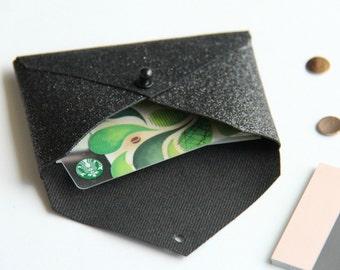 Black Glitter Business Card Holder, Business Card Case, Gift for Her, Gift Card Holder, Gift for Boss, Desk Accessory, Card Wallet