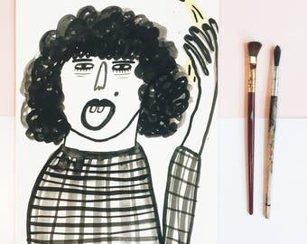 banana girl - original ink drawing // india ink, illustration, black ink, hand drawn, original art, black and white drawing