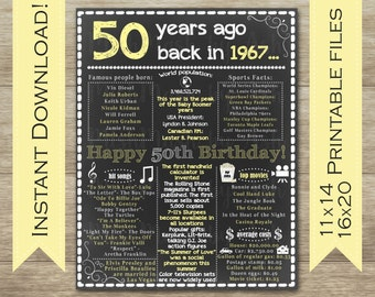 50th Birthday for Her, 50th Birthday Chalkboard Sign, 1967 Birthday Sign, Back in 1967, Happy 50th Birthday, 50 Years Ago, 1967 Facts