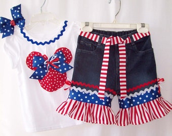 Custom Boutique Disney Minnie Mickey Mouse Patriotic July 4th jeans & shirt set all sizes available