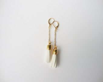 Suede and gold chain tassel earrings