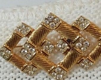 Vintage Goldtone and Rhinestone Brooch Pin