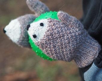 Hedgie Hedgehog Child's Acrylic Wool Blend Mittens
