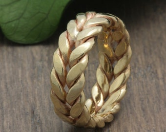 6mm 14K/18K Yellow Gold Hand Crafted Fern Style Wedding Band, Floral Wedding Band, Gold Band, Hand Braided Ring,