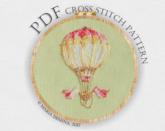 Watercolor Hot Air Balloon PDF cross stitch pattern / instant download; pattern finish picture available