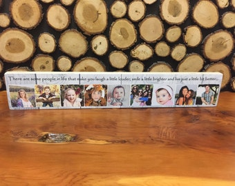 """16x3"""" Personalised Wooden Family Photo & Text Block Best Friend Baby Gift FREE DELIVERY"""