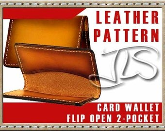 Leather Card Holder Pattern Flip Open 2-pocket Digital PDF Template
