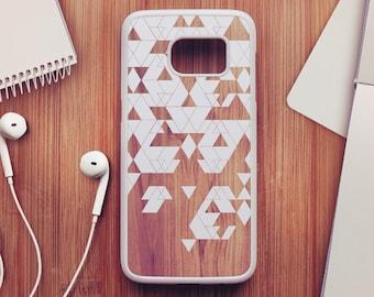 Geometric Wood Samsung Galaxy S7 Case, Wood Samsung Galaxy S6 Case, Geometric Samsung Galaxy S5 Case, Green Samsung Galaxy S4 Case