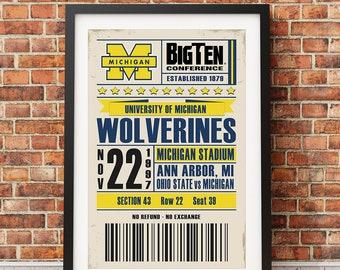 University of Michigan Football Retro Ticket Print