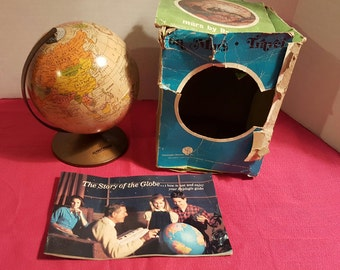 Revere Repogle Metal Desk World Globe Bank Orig Box Vintage 6 inch