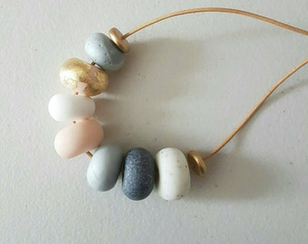 Clay necklace, Flesh silver white and granite clay beaded necklace, polymer clay jewellery, gift for her, pink and gold, beaded necklace