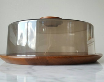 Luthje Denmark Covered Serving Tray Teak And Smoked Lucite Cheese Tray Danish Modern 1960's Kitchen Wares Teak Serving Platter With Lid