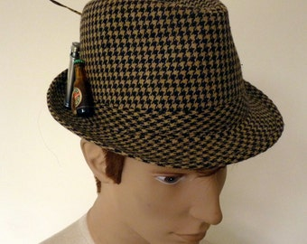 Tweed Hat,Trilby Hat,Feathered Hat,