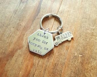 Bus driver keychain. Hand stamped Keychain.  Personalized gift.  School bus driver keychain gift. Christmas gift.