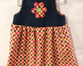 Baby Girls Flower Dress // Girls Jumper // Baby Jean dress // Girls Corduroy Dress