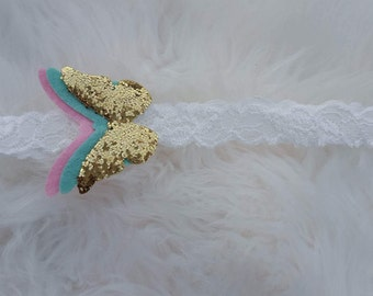 Butterfly Lace Headband ~ Stunning Heaband ~ Glitter ~ Gold ~ Pink~ Blue ~ Toddler ~ Baby ~ Girls ~ Simple Headband ~ M2M ~ Matilda Jane