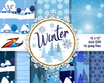 Sale Winter Digital Paper commercial use christmas digital background snow snowflakes blue paper frozen digital paper winter forest