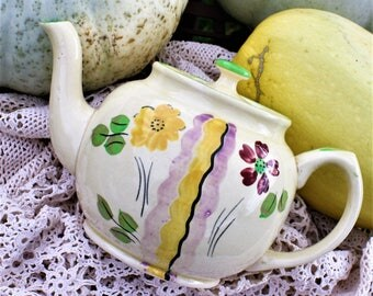 James Sadler Hand Painted Teapot in Creamy White with Garden Flowers Pattern