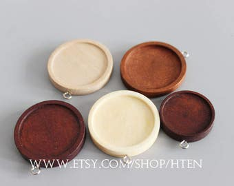 20pcs 12mm/15mm/20mm/25mm/30mm wood Pendant Blank Round Pendant Setting wood trays - wood pendant blank - wood pendant base - wood Bezel Cup