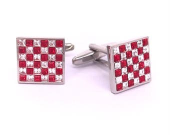 Red and Clear Check Crystals Cufflinks