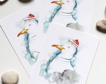 Set of 3 Seagull postcards, ahoy, sailor, north sea, greeting card bird illustration, holiday, seaside, seagull watercolour greetings