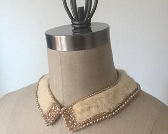 Vintage fur collar. Vintage 1950's Detachable collar. Fur collar. Beaded collar. Vintage collar. 50's collar.