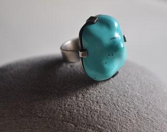 Scandinavian silver modernist turquoise ring