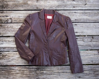 HIGH SIERRA Vintage Oxblood Real Leather Blazer