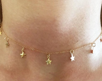 FALLING STARS * STAR Choker * Necklace * 14k Gold Filled Chain * Dangling Stars * Delicate * Dainty * Falling Stars * Stars Fall * Minimal