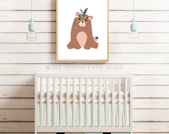 Unisex nursery decor | tribal bear print | woodland decoration | playroom | wall art | cute |  baby | unisex | kids room decor 0010