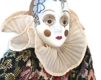 Vintage Pierrot Doll, Harlequin, Mime, Porcelain Head and Limbs, Soft Body, Ornate Brocade Costume, Poseable