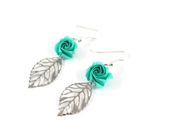Origami - roses mints - watermark - Japanese paper leaf earrings